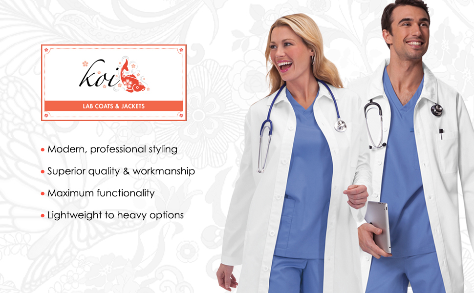 banner image with koi lab coats & jackets logo and 2 models wearing koi lab coats