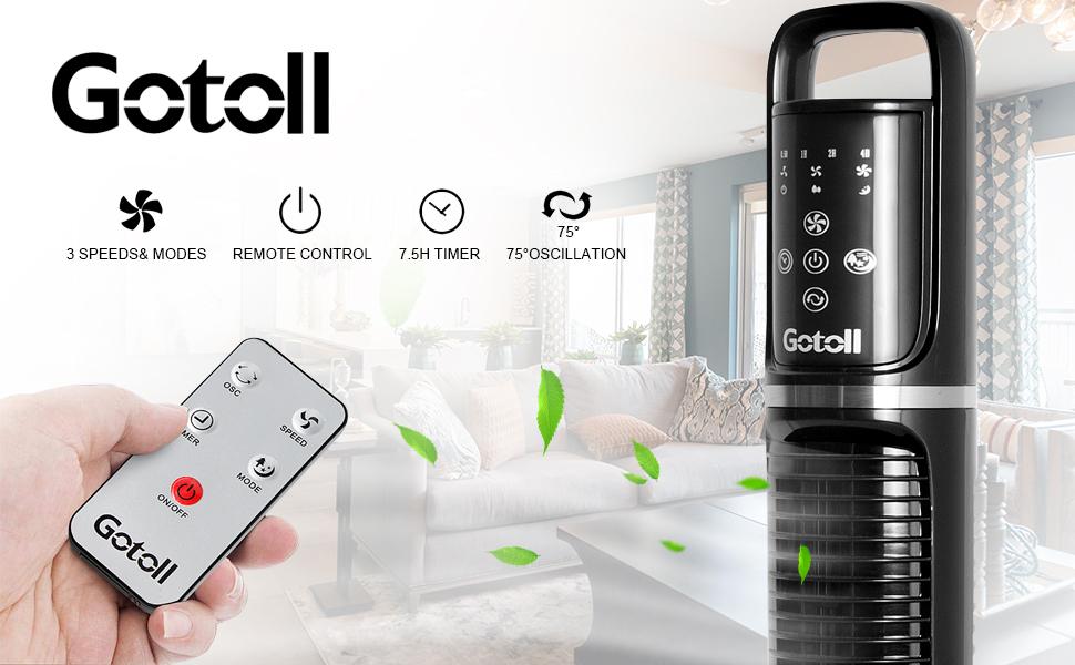 Gotoll Ventilateur Colonne Télécommande, Ventilateur Tour Oscillation Silencieux, Affichage LED & Minuterie, 3 Vitesses & 3 Modes Hauteur 81cm