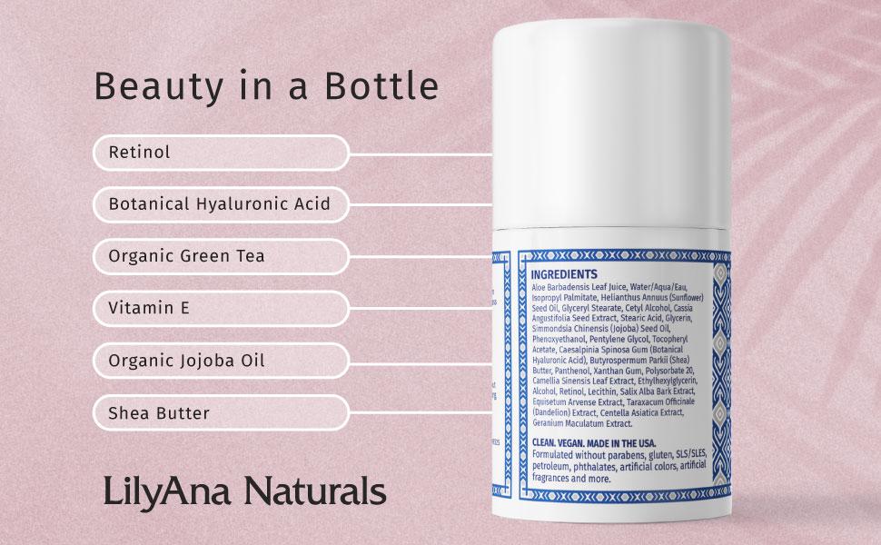 beauty in a bottle, retinol, hyaluronic acid, jojoba oil, vitamin e, shea butter