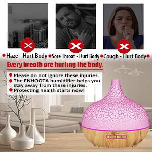 ENHOOTA Diffuser, 400ML Essential Oils Aromatherapy Diffusers Wood Grain Humidifier Electric Ultrasonic Air Aroma Diffuser with 4 Timer, Cool Mist,