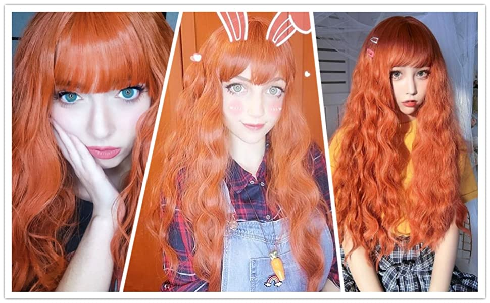 Mildiso Ginger Wigs for Women 26 Long Copper Fluffy Curly Wavy Pastel Cosplay Wig with Bangs for Halloween Party Daily M062CO