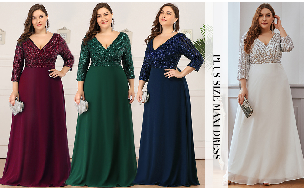 Ever Pretty Plus Size Dresses for Women 2020 Winter and Autumn Party Dress Chiffon Dress with Sleeve