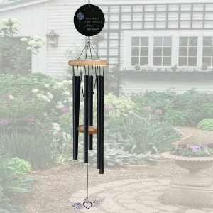 Memorial Wind Chime in garden - black