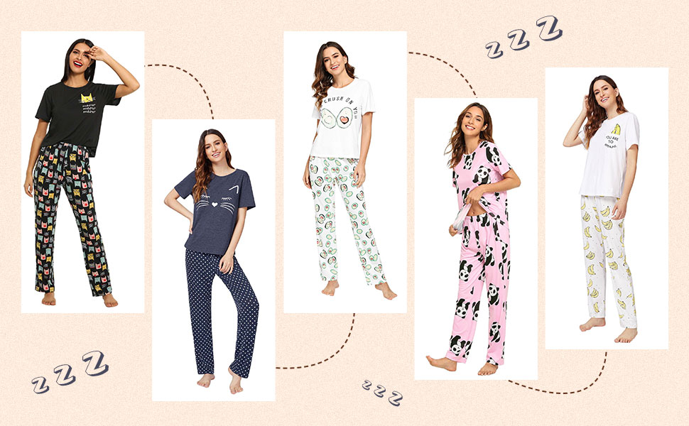 DIDK Women's Cute Cartoon Print Tee and Pants Pajama Set