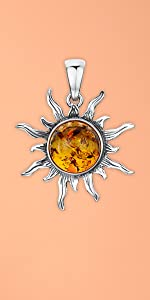 Amberta 925 Sterling Silver with Genuine Baltic Amber - Sun Pendant for Women