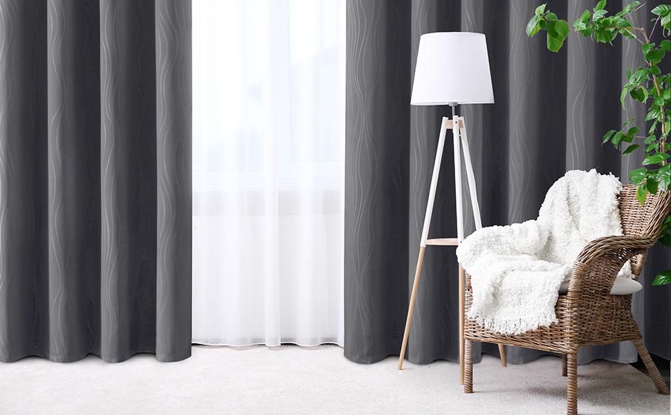 HOMEIDEAS Blackout Room Darkening  Embossed Grommet Curtains