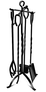 Amazon Com 5 Piece Fireplace Tools Set 31 Heavy Duty Wrought Iron Fire Place Toolset With Poker Shovel Tongs Brush Stand For Outdoor Indoor Chimney Hearth Stove Firepit Easy To Assemble Black Home Kitchen