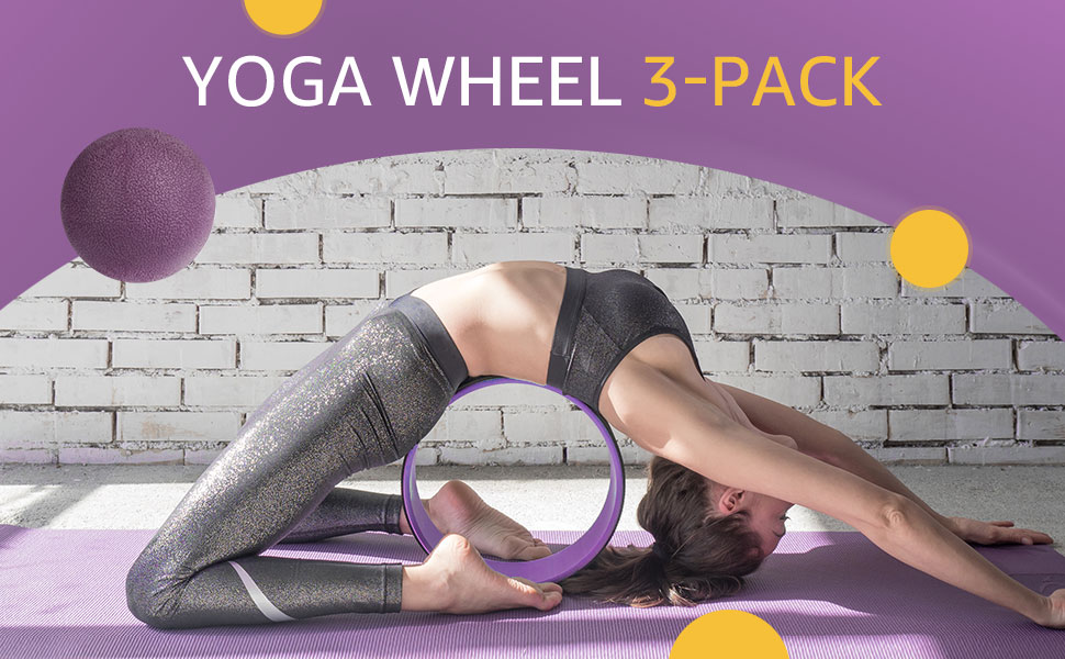 Overmont 3-pack yoga wheel set