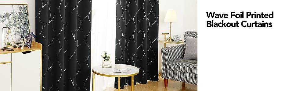 wave foil print curtains