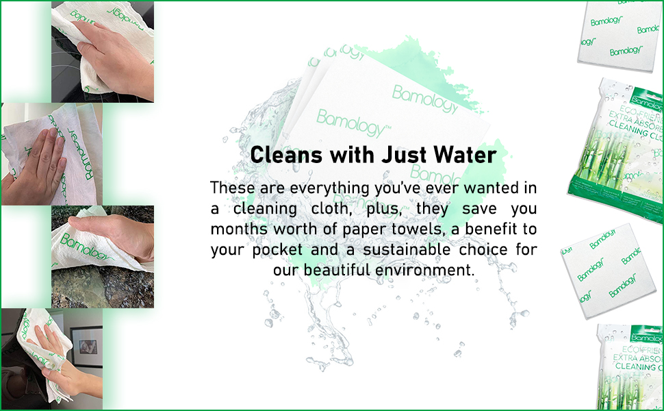 cleans with water only, cleaning cloth