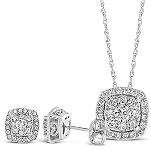 Matching Diamond gold Earring and Necklace pendant fine jewelry set Cushion Square Princess