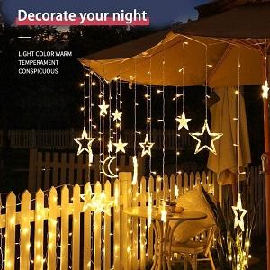 string light curtain stars and moon lights