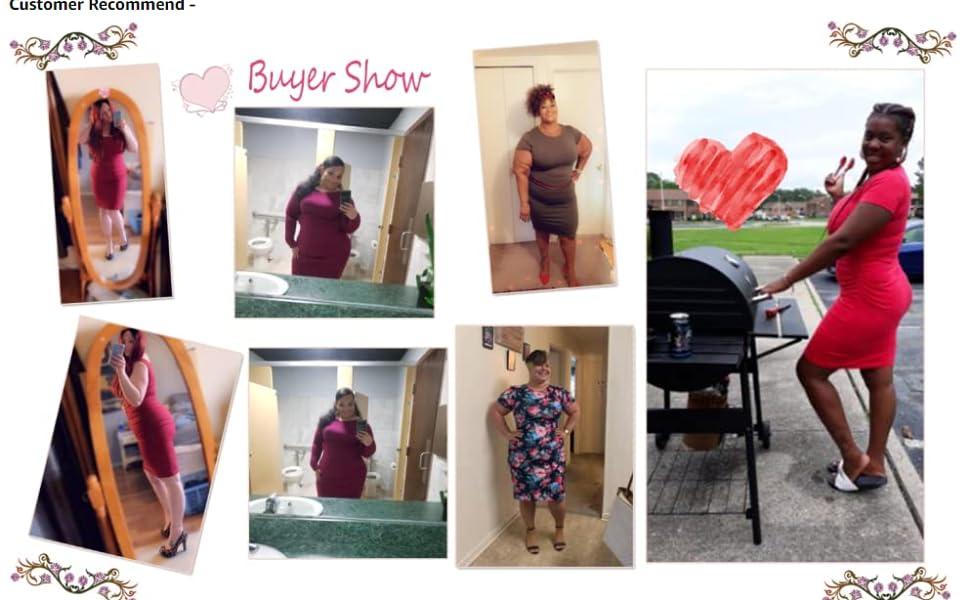 GloryStar Women's Plus SIze Short Long Sleeve Ruched Midi Bodycon Sheath Pencil T Shirt Dress