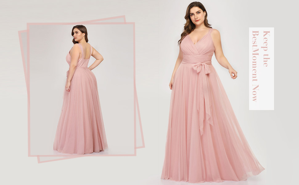 Ever-Pretty Women's Plus Size V-neck A-line Sleeveless Bow Sash Formal Party Gowns for Wedding Guest