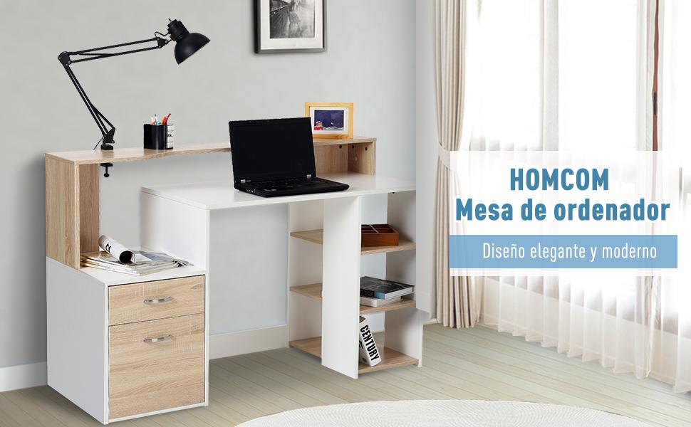 HOMCOM Mesas Ordenador Madera Blanco+Roble 140x55x92cm: Amazon.es ...