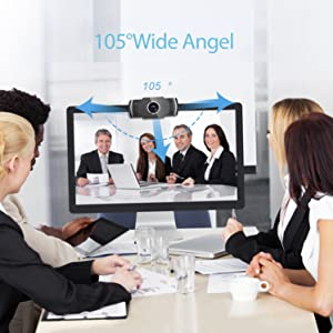Está equipado con una lente ultra gran angular de 105 grados  Camara web 1080P HD con micrófono, cámara web de computadora USB para computadora portátil, reducción de ruido, visión de ángulo amplio de 105 ° para streaming, confrencia de zoom, juegos, YouTube Skype FaceTime. (Negro) 9d4c492b 139f 4ecc b2fd e5a6effc3dd0