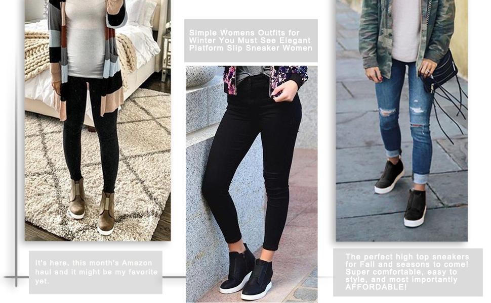 XMWEALTHY Women's Wedges Sneakers Heel