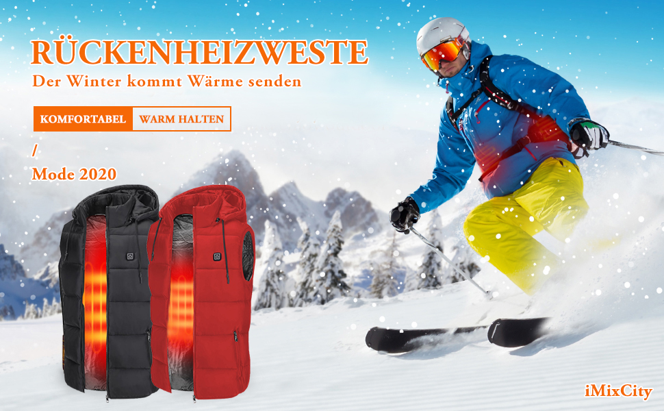 En fibre de carbone /électrique les voyages le ski Pour lext/érieur iMixCity Gilet chauffant et isol/é 3 niveaux le cyclisme le sport automobile