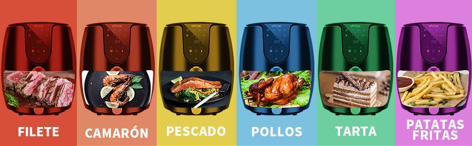 VPCOK Freidora sin Aceite, 3,5L Freidora de Aire Caliente con 6 Programas, Air Fryer con Temperatura y Temporizador Ajustable, Cesta Antiadherente, Libre de BPA: Amazon.es: Hogar
