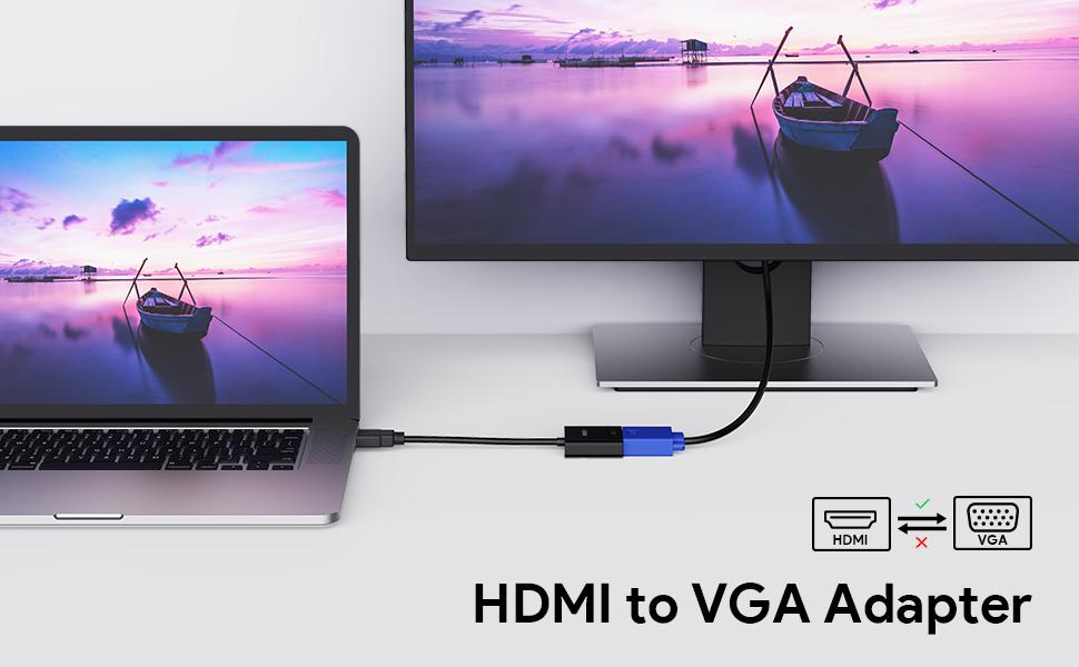AUKEY Adaptador HDMI a VGA 1080P Convertidor de Vídeo para PC, TV, Ordenadores Portátiles y Otros Dispositivos HDMI: Amazon.es: Electrónica