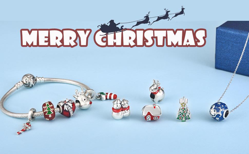 Amazon Com Jiayiqi Christmas Deer Charm 925 Sterling Silver Beads Fit Pandora Charms Bracelet For Women Christmas Gift Jewelry