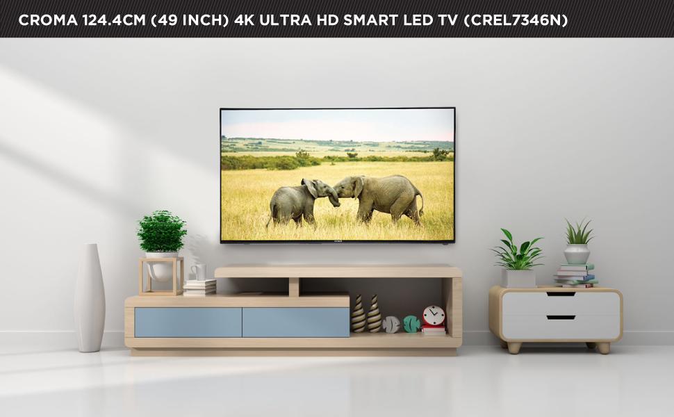 Croma 124.4cm (49 inch) 4K Ultra-HD LED Smart TV (EL7346N, Black)