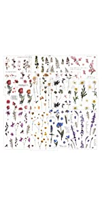 12 Blatt PET Aufkleber Flower