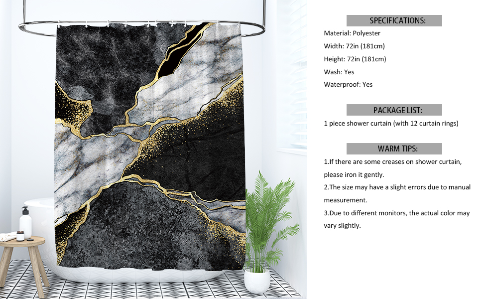 Black and White Marble Texture Shower Curtain Set