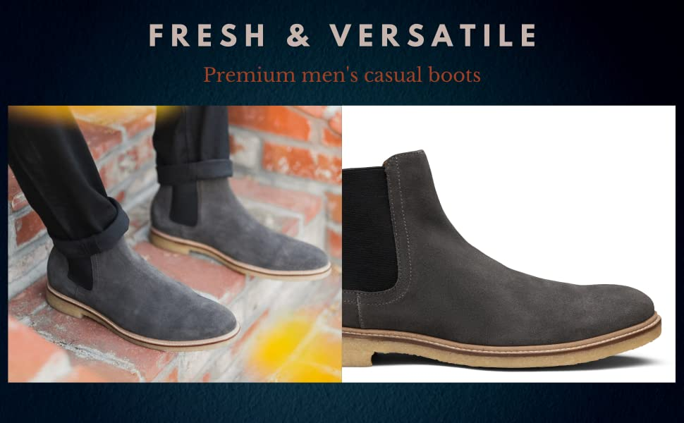 Trevor casual chelsea boot with genuine crepe rubber sole