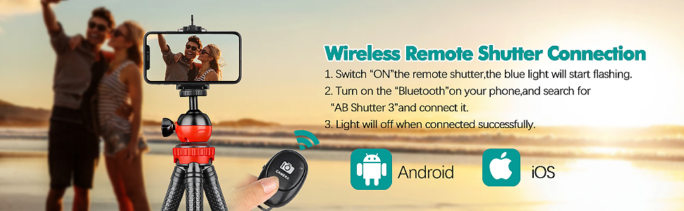 Portable Cellphone Camera Tripod Stand with Wireless Remote