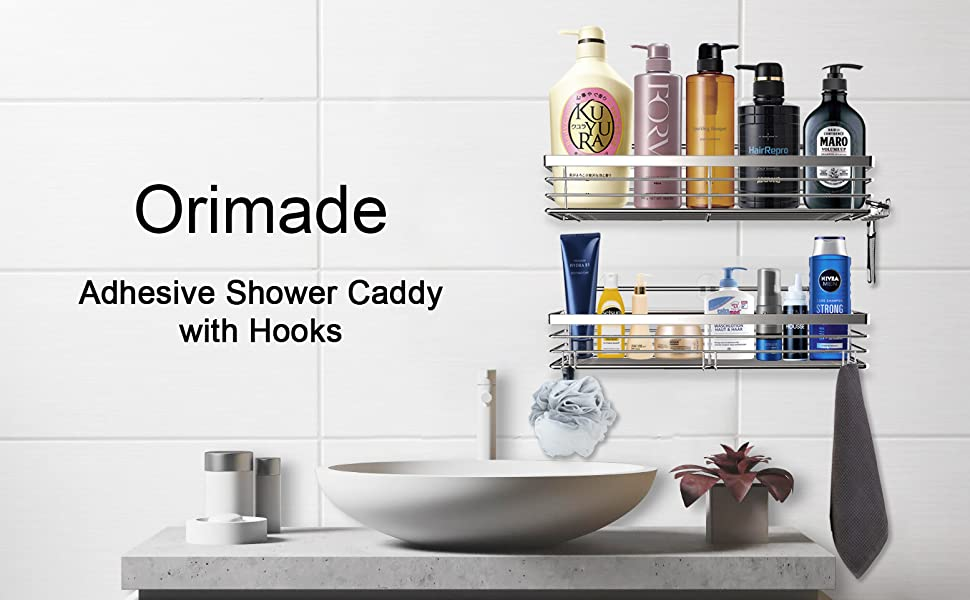 25mm Shower Rail Shower Caddy Bathroom Organiser No Drilling Shower Holders Storage High Grade Stainless Steel Solid Guardrail Fit 19mm TODARRUN Bathroom Shower Shelf