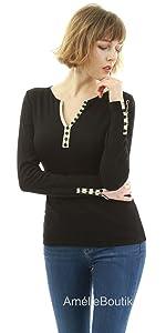 AmélieBoutik Women Notch Neck Buttons Trim Blouse Top