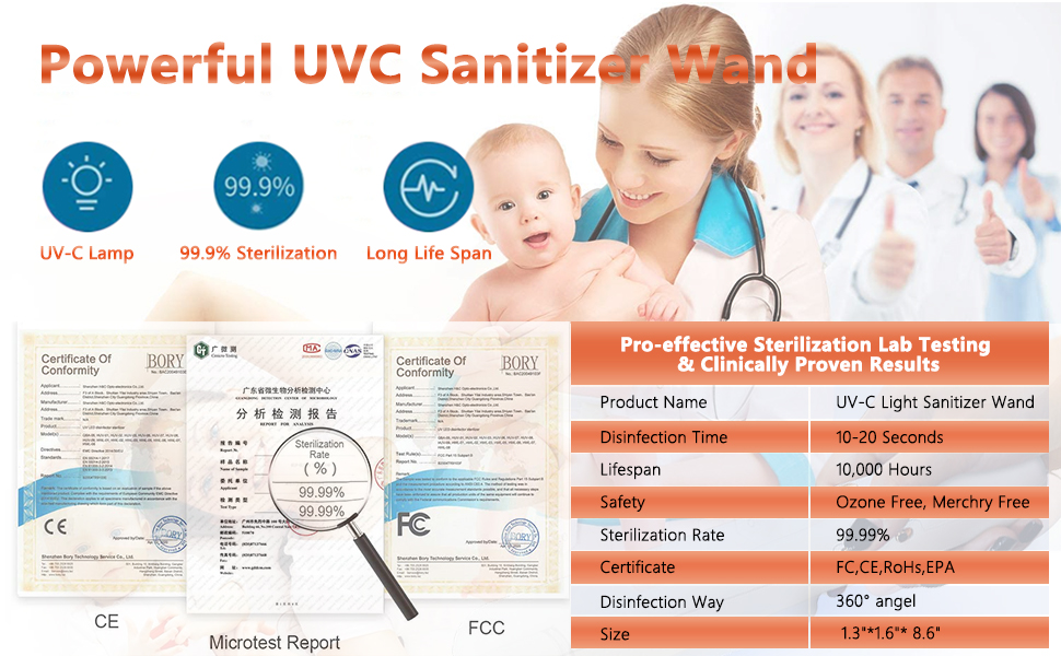 powerful uvc sanitizer wand