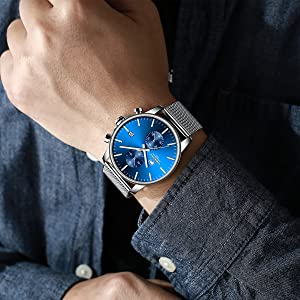 Silver blue watch
