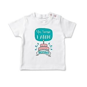 SUPERMOLON Camiseta bebé Ya tengo un añito Blanco 0-1 años