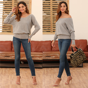 Feiersi Women's Off Shoulder Sweater Long Sleeve Loose Pullover Knit Jumper