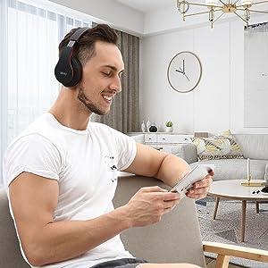 Mkay bluetooth headphones wireless over ear black-red-EBC-4