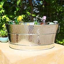 aspen, large, antique, copper, beverage, tub, 25qt, galvanized, metal, patio, outdoor, indoor
