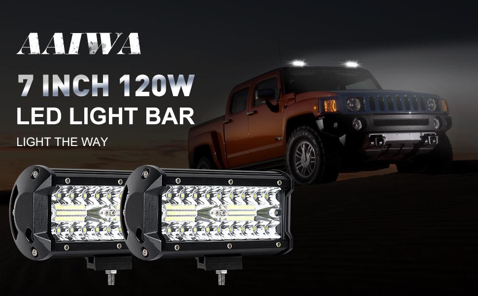 Adatto per La Maggior Parte Delle Auto Faro da Lavoro 7 Fari LED Fuoristrada AAIWA 4 Pezzi x 120W Spot Combinato Lnondazione Fascio Luminoso Fuori Strada Luci di Guida a LED