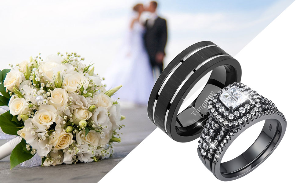 Newshe Wedding Ring Sets for Him and Her 925 Sterling Silver Women Mens Tungsten Bands