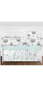 Blue and Grey Jungle Sloth Leaf Baby Unisex Boy or Girl Nursery Crib Bedding Set with Bumper