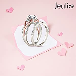 Jeulia 2.5 carat three stone round cut ring set 14k gold plated cubic zirconia engagement ring
