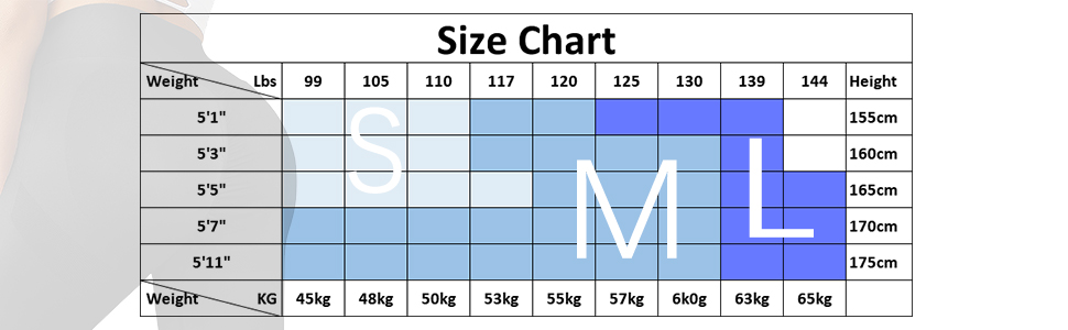 booty leggings' size chart