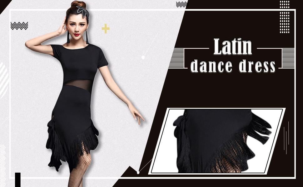 bef09fd6e5f7b besbomig Sexy Houppe Tenue de Danse Latine Femme Fête Performance ...