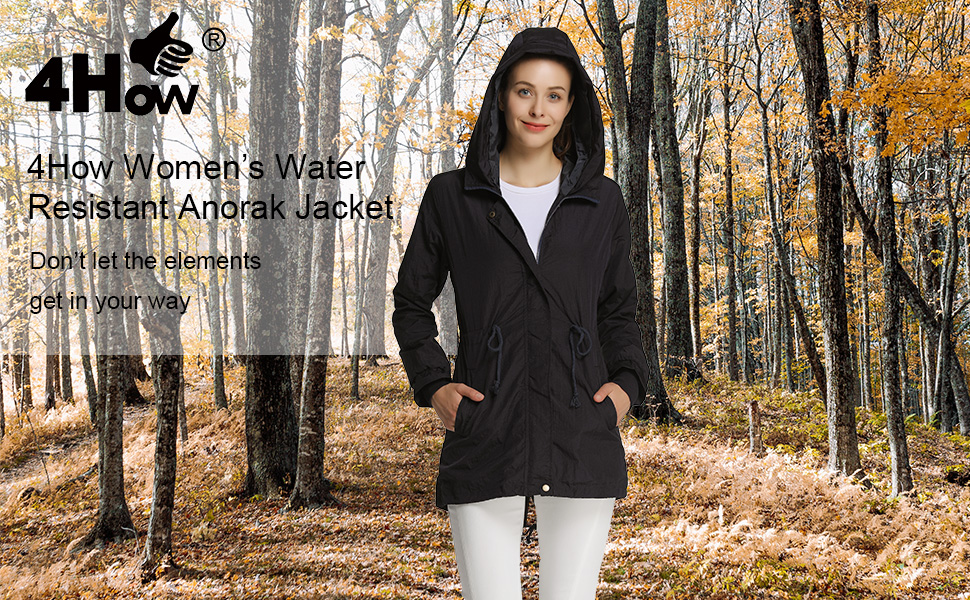 4How Womens Military Anorak Rain Jacket