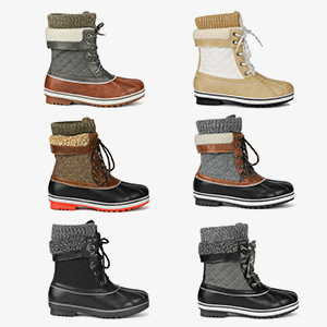 Fashion cold weather faux fur lined snow wide calf rain waterproof womens winter boots daily  duck
