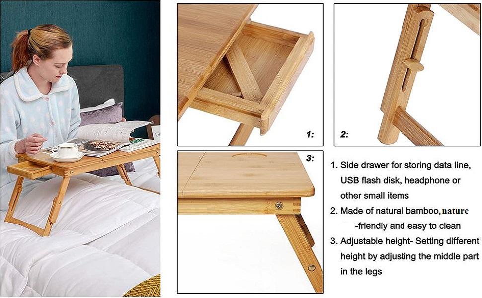 ADA Handicraft Multipurpose Folding Table Lapdesk Bed Computer Desk Dormitory Reading Learning Desk
