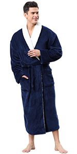 mens warm kimono robe with sherpa collar