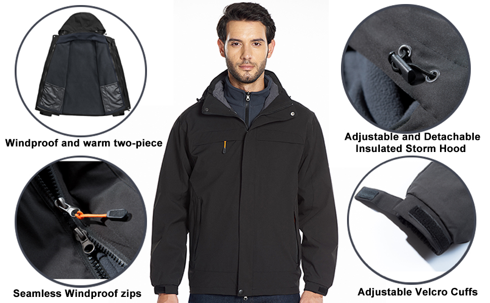 KAM Big Tall Soft Shell Water Proof Performace Jacket coat Detachable Repellent