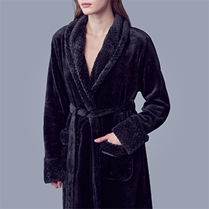 This is black color fuzzy robe for women wears in shower